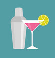 shaker with pink martini vector image vector image