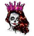 skull girl with red flowers vector image vector image