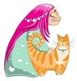 Small girl with red cat vector image vector image