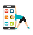 sport man make exercise smartphone apps vector image