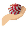 stack poker chips in hand gamble image vector image