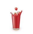 strawberry juice with splash vector image vector image