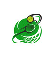 tennis ball and racket sport icon vector image vector image