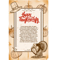 thanksgiving flyer template old style background vector image vector image
