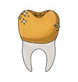 tooth with dental golden crown and root in colored vector image vector image