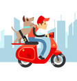 travel with pets - young man on moto with dog and vector image vector image