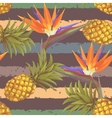 tropical exotic flowers and pineapple seamless vector image vector image