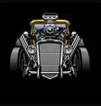 vintage hotrod custom car with big engine vector image vector image