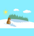 winter background with pine forest sun and clouds vector image vector image