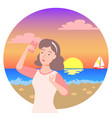 woman taking photo on sunset landscape tropics vector image vector image