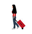 woman tourist with a suitcase goes on a trip on vector image