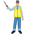 Young traffic-controller with rod eps10 vector image
