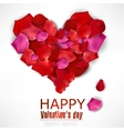 Beautiful heart made from rose petals on white vector image