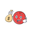 bowling ball character cartoon with money bag vector image vector image