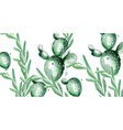 cactus summer pattern watercolor exotic vector image