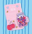 cherries smoothie juice vector image vector image