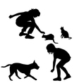 Children silhouettes playing with pets vector image