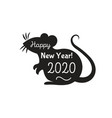 chinese rat zodiac 2020 black color vector image vector image