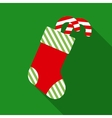 Christmas Sock with Candy Cane in Flat Style vector image vector image