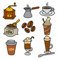 coffee drinks icons vector image vector image