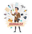 colorful reporter round concept vector image vector image