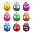 comic cartoon colorful eggs characters vector image