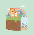 cute and little cat and lion n field vector image
