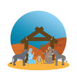 cute holy family and animals manger characters vector image vector image