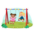 cute kids having fun on swing in playground vector image vector image