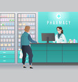 drugstore pharmacy with pharmacist customer with vector image