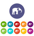 elephant icons set color vector image vector image