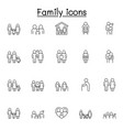 family icons set in thin line style vector image vector image