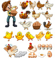 Farmer collecting eggs from chickens vector image vector image