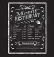 hand drawn restaurant menu blackboard vintage vector image vector image