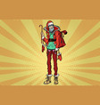 hipster santa claus with christmas gift bag vector image vector image