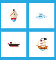 icon flat boat set of transport pirate shipping vector image