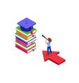 isometric education graduate achievements vector image