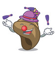 juggling spiral shell mascot cartoon vector image