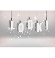 Look text attention banner with white hanging vector image vector image