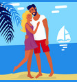 lovely hugging couple isolated on summer beach vector image vector image