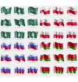 Macau Poland Slovenia Belarus Set of 36 flags of vector image