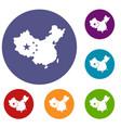 map of china icons set vector image vector image