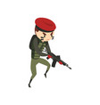 military man with rifle soldier character in vector image vector image