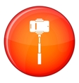 Mobile phone on a selfie stick icon flat style vector image vector image