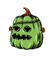 monster green pumpkin with sewing tattoos vector image vector image