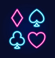 neon lamp casino banner on blue background poker vector image