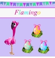 One flamingos and three painted eggs vector image