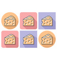 outlined icon of cheese piece with parallel and vector image vector image