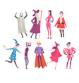 people in festival costumes set person taking vector image vector image