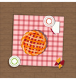 pie and checkered fabric on wooden background vector image vector image